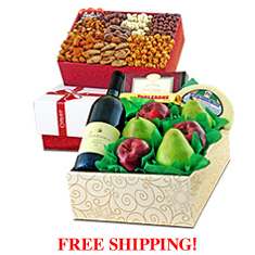 Magnificent Merlot, Fruit, Cheese & Gourmet Double Decker Gift Box