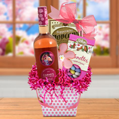 Pretty In Pink Wine Basket