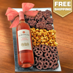 White Zinfandel & Snax On A Glass Platter