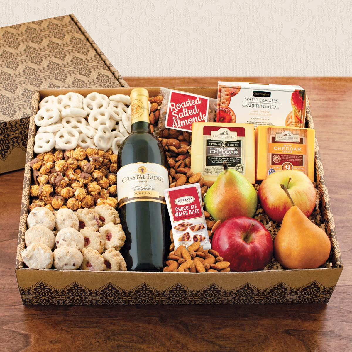 Magnificent Merlot, Fruit, Cheese and Gourmet Gift Box