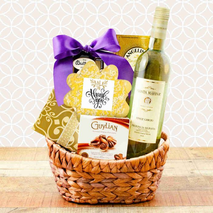 Youre The Best White Wine Thank You Basket