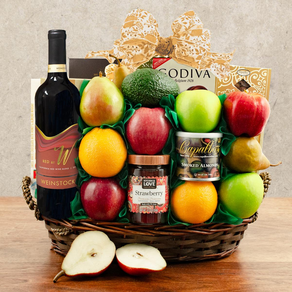 Jerusalem Wine, Fruit and Kosher Food Gift Basket